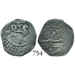 Mexico City, Mexico, cob 1/2 real, Philip III, oM to left, F to right.