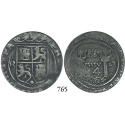 Lima, Peru, 4 reales, Philip II, assayer Rincón, motto as PL-VSV-LT, legend ending in HISPA/N, encap