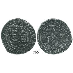 Lima, Peru, 4 reales, Philip II, assayer Rincón, motto as PL-VSV-LT, legend ending in HISPANIA.