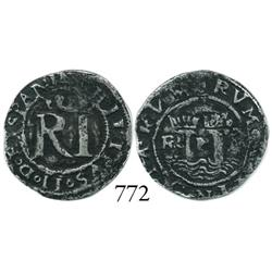 Lima, Peru, 1/2 real, Philip II, assayer Rincón, rare variety with legends ending in HISPANI and IND