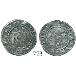 Lima, Peru, 1/2 real, Philip II, assayer R (Rincón), legends ending in HISP and INDIA.