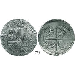 Lima, Peru, cob 8 reales, Philip II, assayer Diego de la Torre, *-8 to left, P-•D to right.