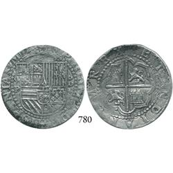 Lima, Peru, cob 4 reales, Philip II, assayer Diego de la Torre, 4-P to left, oD-* to right of shield