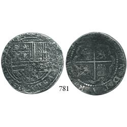 Lima, Peru, cob 4 reales, Philip II, assayer Diego de la Torre, *-oIIII to left, (P)-•D to right.