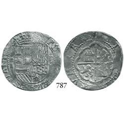 Lima, Peru, cob 2 reales, Philip II, assayer Diego de la Torre, *-II to left, P-•D to right.