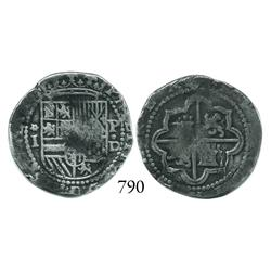 Lima, Peru, cob 1 real, Philip II, assayer Diego de la Torre, *-I to left, P-•D to right.