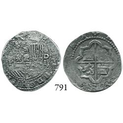 Lima, Peru, cob 1 real, Philip II, assayer Diego de la Torre, (*)-P to left, oD-I to right.