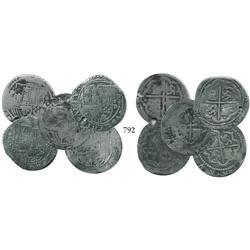 Lot of 5 Lima, Peru, cob 1 reales, Philip II, assayer Diego de la Torre, all different varieties.