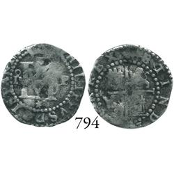 Lima, Peru, cob 1/2 real, Philip II, assayer Diego de la Torre, oD to left, P to right, * below mono