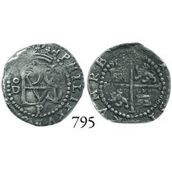 Lima, Peru, cob 1/2 real, Philip II, assayer Diego de la Torre, oD to left, P below monogram.