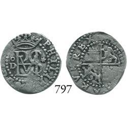 Lima, Peru, cob 1/2 real, Philip II, assayer Diego de la Torre, oD to left, * to right.