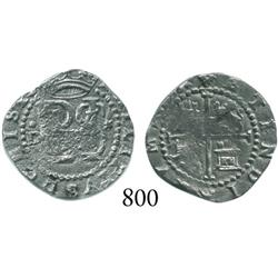 Lima, Peru, cob 1/2 real, Philip II, assayer Diego de la Torre, •D to left, * to right.