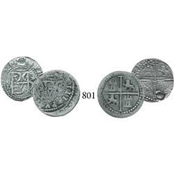 Lot of 2 Lima, Peru, cob 1/2 reales, Philip II, assayer Diego de la Torre, different varieties.