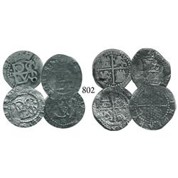 Lot of 4 Lima, Peru, cob 1/2 reales, Philip II, assayer Diego de la Torre, all different varieties.