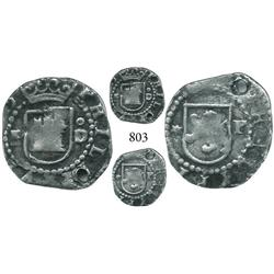 Lima, Peru, cob 1/4 real, Philip II, assayer Diego de la Torre, P to left, oD to right of castle, *