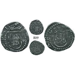 Lima, Peru, cob 1/4 real, Philip II, assayer Diego de la Torre, * to right of castle, * to right of