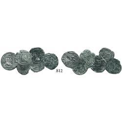 Lot of 6 Lima, Peru, cob 1/4 reales, Philip II, assayer Diego de la Torre, all different varieties.