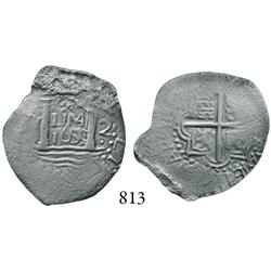 "Lima, Peru, cob 2 reales, ""Star of Lima"" type, 1659V, * over LIMA over 1659 in center, •V• to left,"