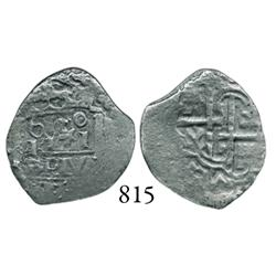 """Lima, Peru, cob 1 real, """"Star of Lima"""" type, 1660(V), 60 over I*I over PLVS in center, very rare."""