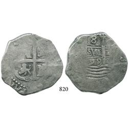 Lima, Peru, cob 8 reales, 1698(H).