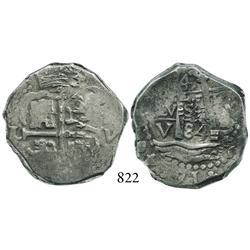 Lima, Peru, cob 4 reales, 1684V, very rare.