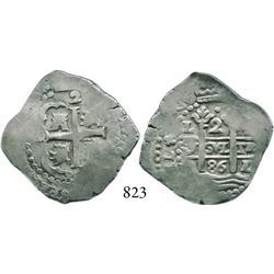 Lima, Peru, cob 2 reales, 1686R, scarce.