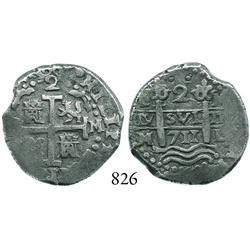 Lima, Peru, cob 2 reales, 1711M, scarce.