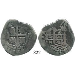Lima, Peru, cob 2 reales, 1714/3M, rare.
