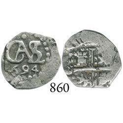 Lima, Peru, cob 1/2 real, 1694.