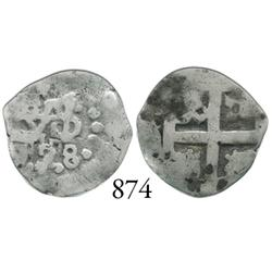 Lima, Peru, cob 1/2 real, 1728/?, 1R-sized cross die.