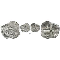 Lima, Peru, cob 1/2 real, (175)0(R), struck from 1-escudo (castle) die, extremely rare.