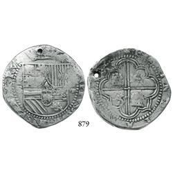 "Potosí, Bolivia, cob 8 reales, Philip II, P-""S/X"" (assayer B), rare."
