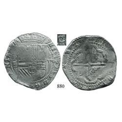 Potosí, Bolivia, cob 8 reales, Philip II, P-erasure-C, very rare.