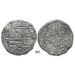 Potosí, Bolivia, cob 8 reales, Philip II, P-B (5th period), borders of x's.