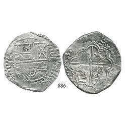 Potosí, Bolivia, cob 8 reales, Philip III, P-R (curved leg).