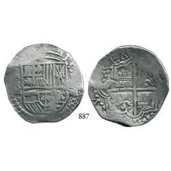 Potosí, Bolivia, cob 8 reales, Philip III, P-M/Q, scarce.