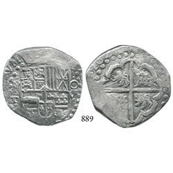 Potosí, Bolivia, cob 8 reales, 1629T, denomination O-VIII, large dots in borders.
