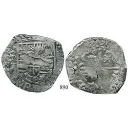 Potosí, Bolivia, cob 8 reales, 1629T, denomination •8•, large dots in borders.