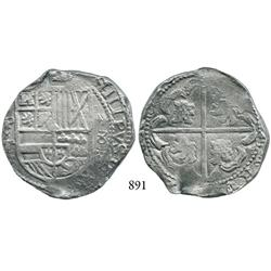 Potosí, Bolivia, cob 8 reales, Philip IV, P-T, denomination x8x (1630).