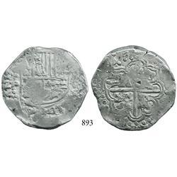 Potosí, Bolivia, cob 8 reales, 1647P/T, unique.