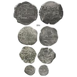 Denomination set (8-4-2-1 reales) of Potosí, Bolivia, cobs of Philip IV assayer Ramirez (late 1640s)