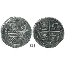 Potosí, Bolivia, cob 4 reales, Philip II, P-L to left.