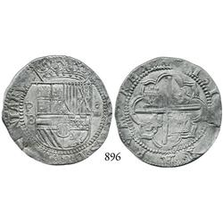 "Potosí, Bolivia, cob 4 reales, Philip II, P-B (2nd period, ""Great Module"")."