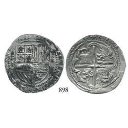 Potosí, Bolivia, cob 4 reales, Philip II, P-B (2nd period).