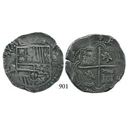Potosí, Bolivia, cob 4 reales, Philip II, P-RL.