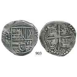 Potosí, Bolivia, cob 4 reales, Philip III, P•M (1617), choice.