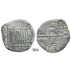 Potosí, Bolivia, cob 4 reales, Philip IV, P•P (1620s).
