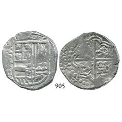 Potosí, Bolivia, cob 4 reales, Philip IV, P-T (late 1620s).