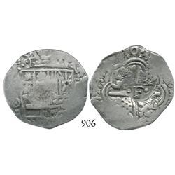Potosí, Bolivia, cob 4 reales, Philip IV, (1649-50)O, crowned-•F• countermark on cross, scarce as no