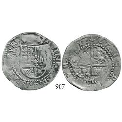 Potosí, Bolivia, cob 2 reales, Philip II, P-R to left (Rincón), rare first issue of mint.